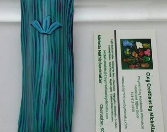 Mezuzah Turquoise Green Fuchsia Striped  (#410)