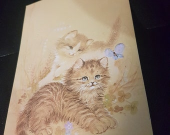 Vintage Greeting Card with two cats,butterfly and flowers.No inscription,No envelope. Yellow,brown and cream.Unused. Collectable