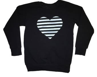 Black & White Stripe Heart Patch Raglan - Baby Sweatshirt, Toddler Sweatshirt, Baby T-shirt, Baby Shirt, Toddler Shirt, Toddler T-shirt