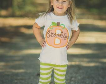 Pumpkin Shirt, Pumpkin Monogram, Fall Shirt, Halloween Shirt, Thanksgiving Shirt, Girl Pumpkin Shirt