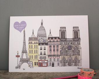 Paris Print - A4 Personalised Paris Art - Wedding Gift - Paris Skyline - Paris Engagement Gift - Travel Gift - Paris Honeymoon
