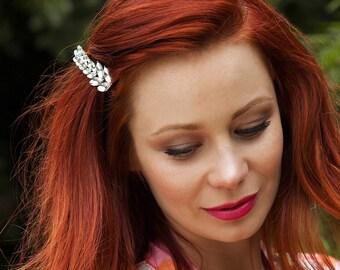 Leaf Hair Barrette Crystal Hair Clip Wedding Hair Clip Wedding Hair Accessory Rhinestone Barrette Silver Hair Clip Wedding Hair Jewelry