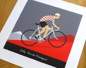 WOMENS PERSONALISED Cycling Art Print, Queen of the Mountains, Customised Name, Race Number, Hair, Eye and Bike Colour, Cycling Gifts