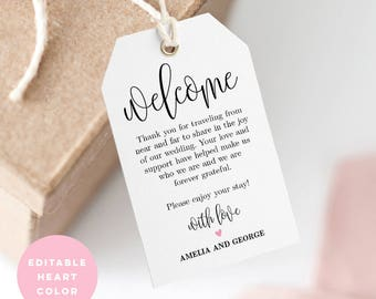 Printable Welcome Tag, Wedding Welcome Bag Tag, Favor Tag - Editable PDF Template, Instant Download Lovely Calligraphy #LCC