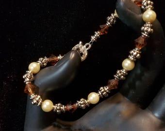 Topaz Swarovski Crystal and Pearl Bracelet