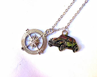 Where To? Necklace: compass and beetle car charms, navigation tool & sedan pendants, travel jewelry