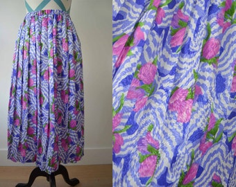 Vintage Floral Pleated Skirt - Pink ulips with Purple Flowers and Lavender Zebra Print Psychedelic Swirls - Size 10