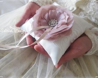 Ring Bearer Pillow, Vintage Wedding Ring Pillow, Rustic Wedding, Taupe Flower Ring Pillow- code:RP154vintage