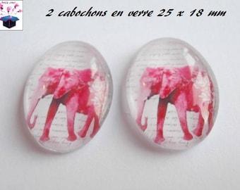 2 cabochons glass 25mm x 18mm elephant theme