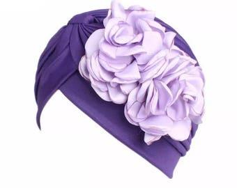 Purple flower head cap turban Hijab beanie chemo hat