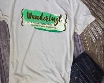 Wanderlust Womens Shirt,Boho Shirt, Country Shirt, Hippie Shirt, Boheimiean Shirt, Gypsy Shirt, Mint Green Trendy Shirt Comfy, Gift For Her