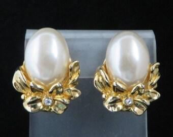 Faux Pearl Flower Earrings, Vintage Gold Tone Rhinestone Studded Clip-on Earrings