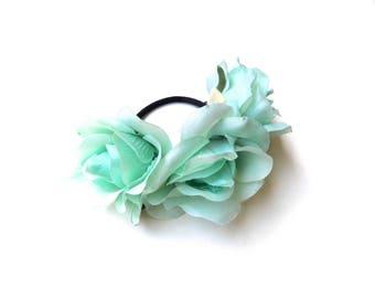 Mint green/aqua rose bun wrap, floral bun crown on elastic band, hippie floral hair accessory