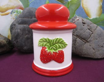 Vintage Strawberry Jam ceramic container made in Japan
