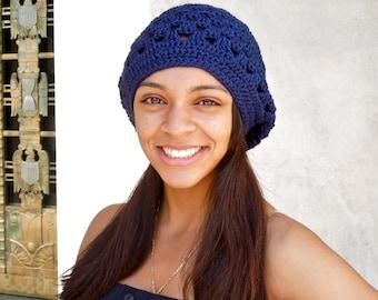 Crochet Slouchy Hat, Women, Men, Teen, Navy Blue, Tam,,