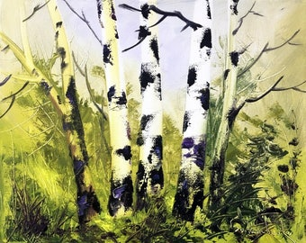 Birch Tree Original Oil Painting Landscape Painting on Canvas, Wall art, Palette Knife Painting by Tetiana