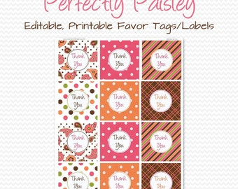 Thank You Tag, Favor Tag, Paisley Birthday Party Favor, Pink and Orange, Goodie Bag, Treat Bag Label - Editable, Printable, Instant Download