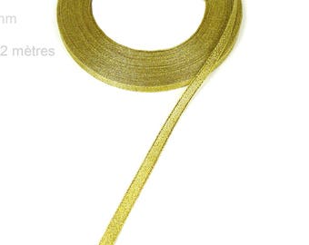 Wide gold organza Ribbon 7 mm X 22 meters