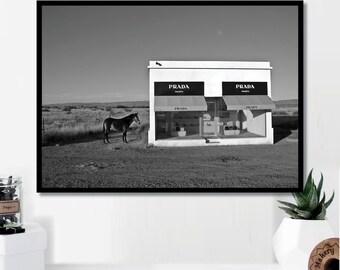 Prada Marfa Storefront Print // Minimalist Poster // Wall Print // Photography // Fashion // Scandinavian // Boho // Gift