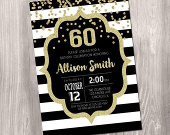 60th birthday invitation, adult birthday invitation, surprise birthday invitation, black white gold glitter confetti, 60th surprise invite