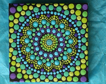 "Hand painted blue, green, and purple mandala on canvas 3""x3"" dot pointillism art"