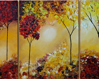 "Autumn giclee print set of 3, autumn landscape art print, forest prints,autumn fine art print of my original oil painting ""Into the forest 2"
