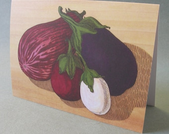 5 x 7 Notecard - A010 EGGPLANTS // vegetable art / vegetable card / aubergine / purple / illustration card / thanksgiving card / harvest