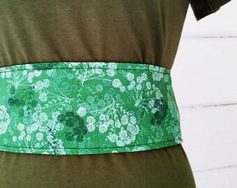 Obi Belt Women's Japanese Flowers Belt Australian Made Accessories Corduroy Belt Waist Cincher Waist Slimmer Reversible Belt Plus Size Belt
