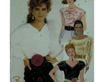"Stretch Knit Top Pattern, Brooke Shields, Scoop/V/Keyhole Neck, Raglan Sleeves, Cap/Long Sleeves, McCalls No.4053 UNCUT Size 14 Bust 36""92cm"