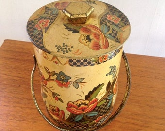 Vintage Floral Tin Canister with Handle