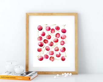 Kitchen wall art, printable watercolor fruits, cherries art print, home decor