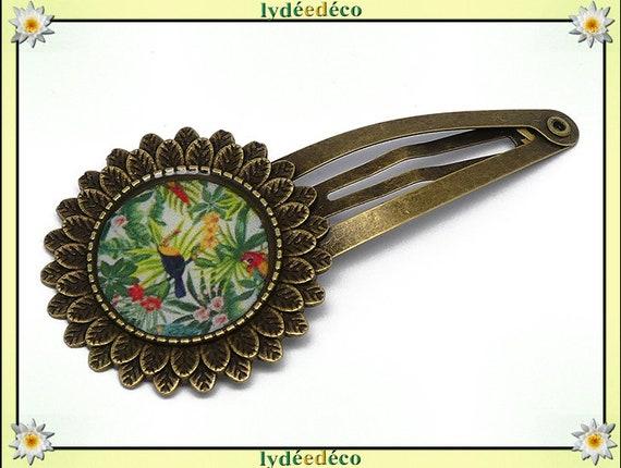 Hair clip wedding retro resin hair clip green exotic Toucan multicolor brass bronze mothers birthday gift