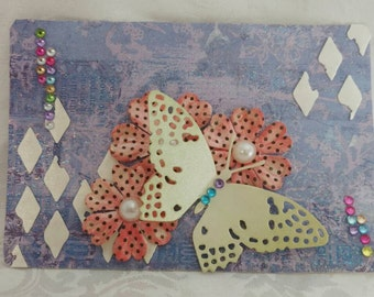 Altered jumbo playing card #40 - Butterfly Diamonds