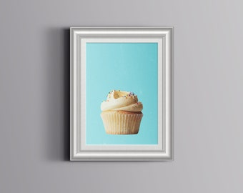 A Print of Vanilla Cupcake Drawing on a light blue Background - Instant Download modern Printable Art Wall Decor