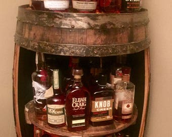 Bourbon  barrel display case (Jim Beam, Makers Mark, Wild Turkey, Buffalo Trace  authentic barrels with stamps) Bar display