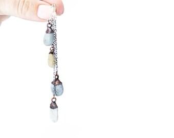 Beach Pebble earrings | Stone earrings | Pebble silver earrings | Raw stone earrings | Pebble dangle earrings