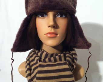007-Fur hat/Chapka from grown lambskin and Nappa leather