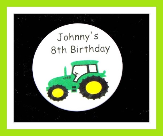 Birthday Party Favors, Personalized Button,Tractor Pin Favor,School Favors,Kids Party Favor,Boy Birthday,Girl Birthday,Pins, Set of 10