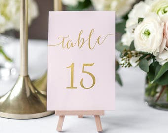 Blush Pink and Gold Table Numbers Printable - includes tables #1-60 - Printable PDF - Instant Download - Blush Gold - 4x6 inches - #GD1208