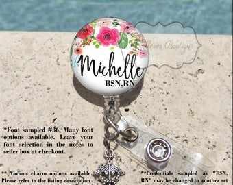 Retractable Badge Holder, Watercolor Floral Personalized Badge Reel, Name Badge Reel, Nurse Badge Reel, Badge Holder, MB424