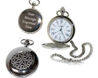 Personalized Pocket Watch Celtic Never Ending Knot Gift Best Man, Usher, Groom, Custom Engraved Birthday, Wedding or Anniversary Mens Gift