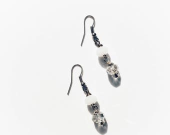White and clear glass rondelle bead earrings on silver wire hooks