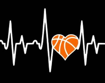 Heart Basketball Heartbeat Regular Print-Multiple Shirt Options