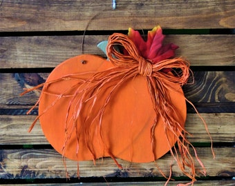 Hanging Country Wooden Pumpkin Decoration - Fall, Harvest, Primitive