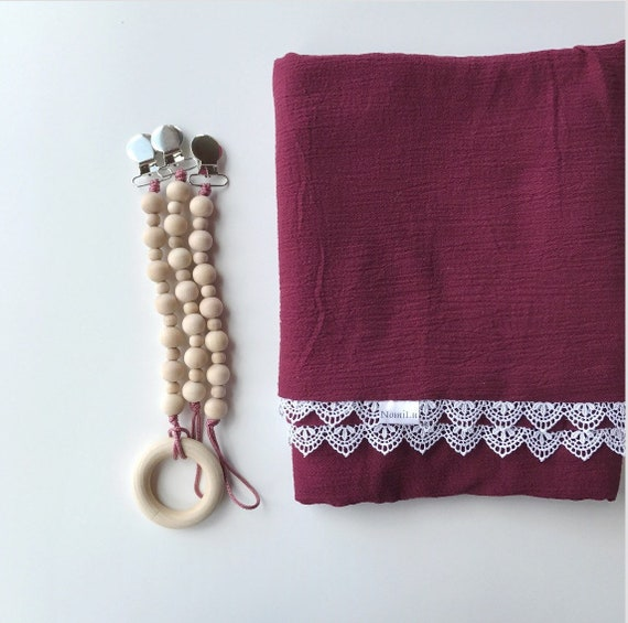 NomiLu Heirloom Lace BURGUNDY Swaddle Blanket -- Muslin Cotton Gauze and Lace