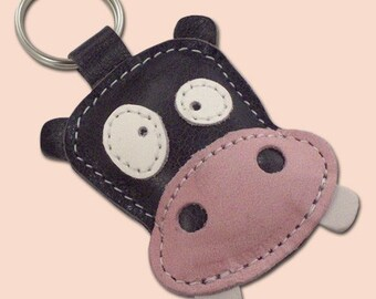 Cute Gray Hippo Leather Animal Keychain