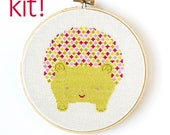 Modern Cross Stitch Kit, DIY Kit, Embroidery Kit, Hedgehog in Pink and Green, Easy Cross Stitch, Beginner Pattern, Nursery Decor