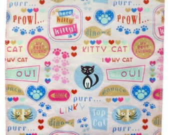 Handmade Organic Catnip Play Mat Cat Toy -  Tuxedo on Pink Kitty Sayings