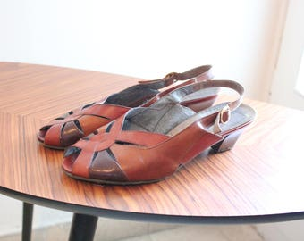 Vintage brown peeop toes criss cross leather slingbacks heels shoes size 9 size 40