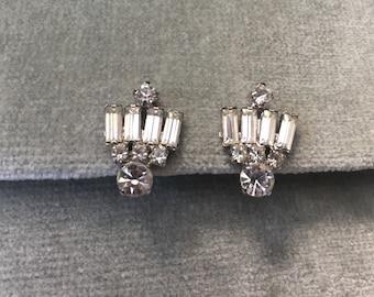 Rhinestone Earrings / 1950s / Bridal / Wedding / Special Occasion